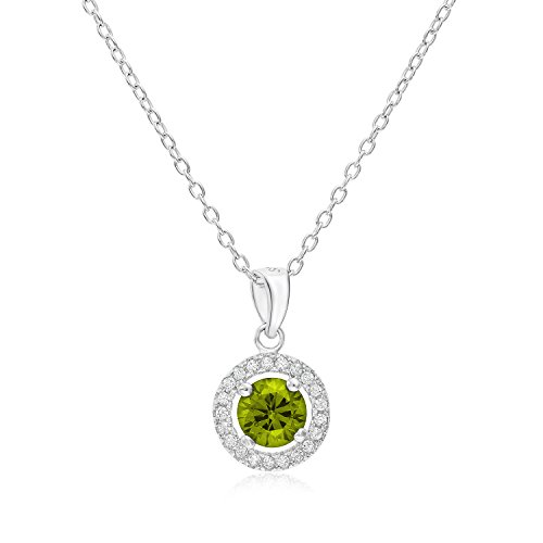 Sterling Silver Simulated Peridot August CZ Birthstone Halo Pendant (16 Inches)