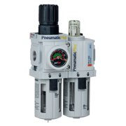 "PneumaticPlus PPC2A-N02G Compressed Air Filter Regulator Piggyback Lubricator Unit 1/4"" NPT, Particulate Air Filter (5 Micron), Manual Drain, Poly Bowl, Gauge"