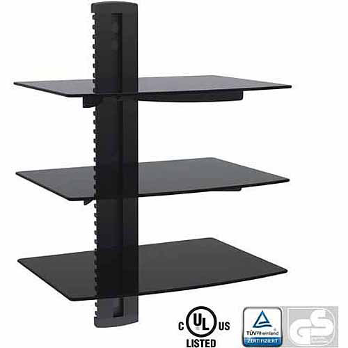 Arrowmounts Aluminum/Tempered Glass DVD Mount Triple Deck, Black