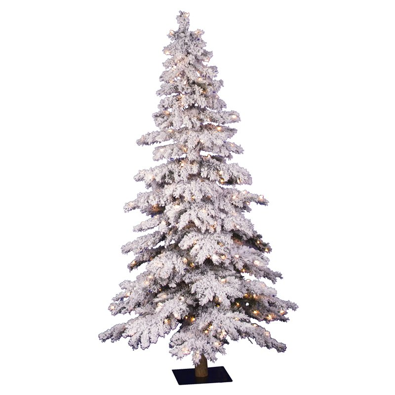 5 ft. Flocked Spruce Alpine Medium Pre-lit Christmas Tree