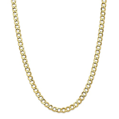 10k Yellow Gold 18in 6.0mm Semi-Solid Curb Link Necklace Chain by Jewelrypot