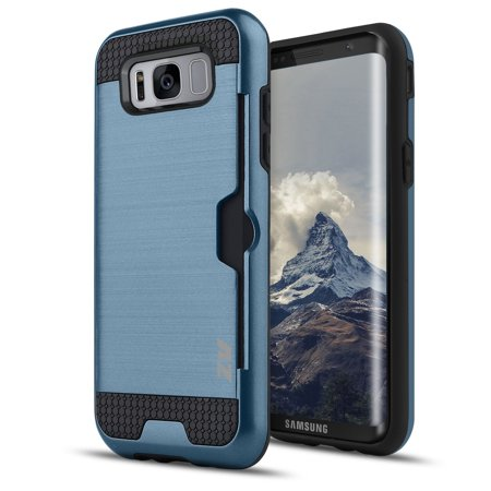 Samsung Galaxy S8 / S8 Plus Case, Zizo Metallic Slim Hybrid Cover w/ Card (Card Holder Case Cover)