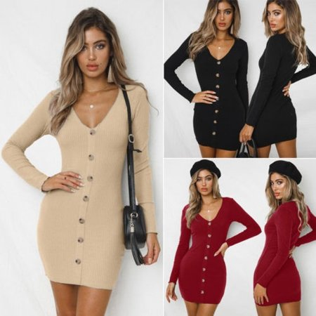 Women Fashion Winter Knitted V neck Long Sleeve Knitted BodyCon Sweater Dress