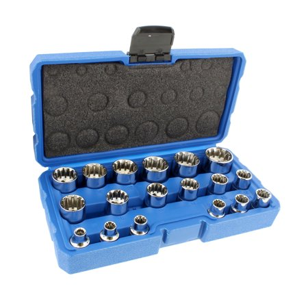 "ABN | Universal Spline Socket Set – 18 Piece Metric 3/8"" Drive Socket Tool Set ()"