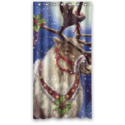 GreenDecor Christmas Reindeer Waterproof Shower Curtain Set with Hooks Bathroom Accessories Size 36x72 inches