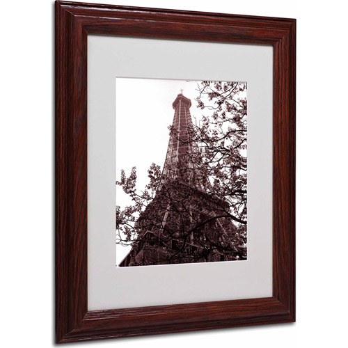 "Trademark Fine Art ""Eiffel With Tree"" Matted Framed Art by Kathy Yates, Wood Frame"