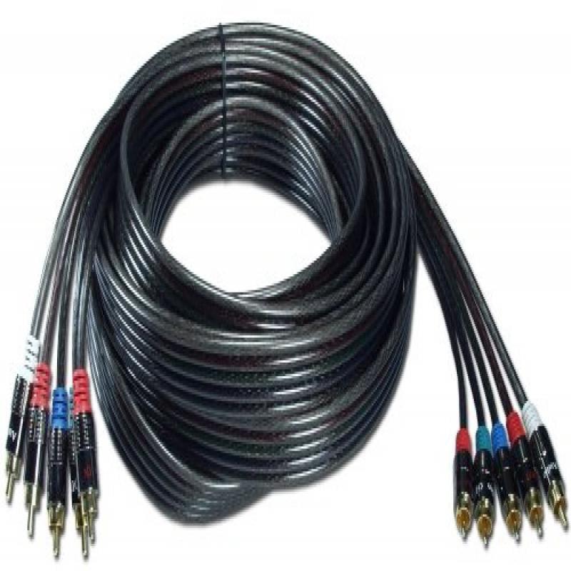 QVS RCA5AV-12 12 ft. HDTV 5RCA Premium Component Audio & Video Combo Cable Kit