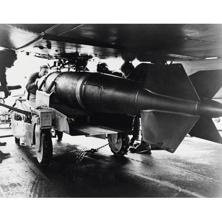 Men aboardUSS Ranger position a 2000 pound bomb under the wing of an A-1 Skyraider 1965 Poster Print by Stocktrek (2000 Pond Filter)