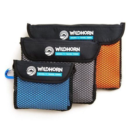 Wildhorn Outfitters Microlite Microfiber Quick Dry Travel Camping Towel (3 Pack)