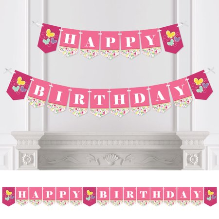 Playful Butterfly and Flowers - Birthday Party Bunting Banner - Pink Party Decorations - Happy Birthday - Banner Flowers