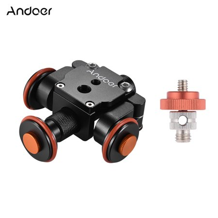 Andoer Electric Motorized Auto Camera Dolly Video Slider Skater 3-Wheel Pulley Car for Canon Nikon Sony DSLR for X 8 7 Plus 6s Smartphone for GoPro Hero 5/4/3+/3 Action Sports