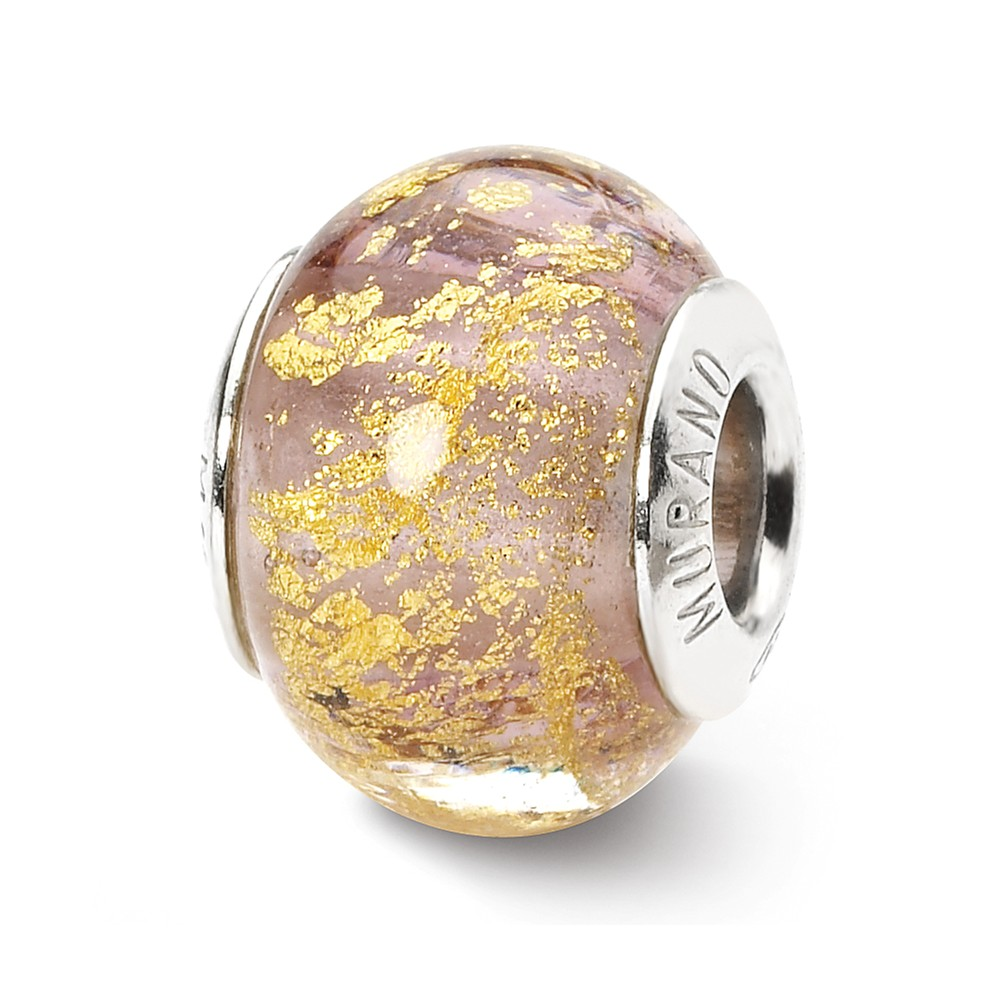 Sterling Silver Reflections Lavender/Gold Italian Murano Bead