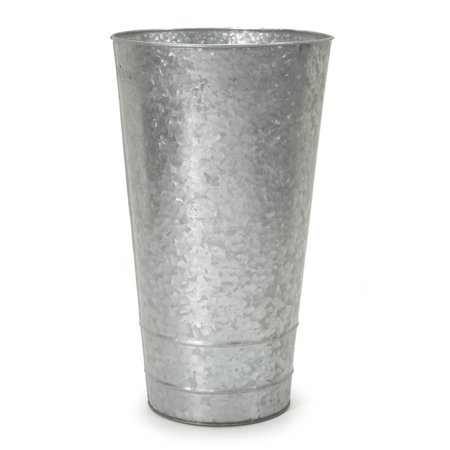 Galvanized Flower - Tall & Narrow Galvanized Flower Planter: 8 x 14 inches