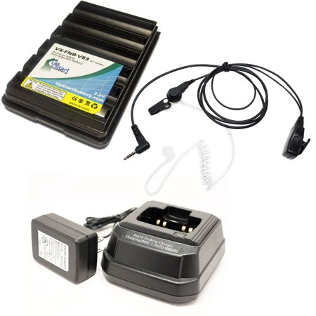 Compatible Yaesu   Vertex Vx 160 Battery   Charger   Fbi Earpiece With Push To Talk  Ptt  Microphone   Compatible For Yaesu   Vertex Fnb 83 Two Way Radio  1600Mah  7 2V  Nimh