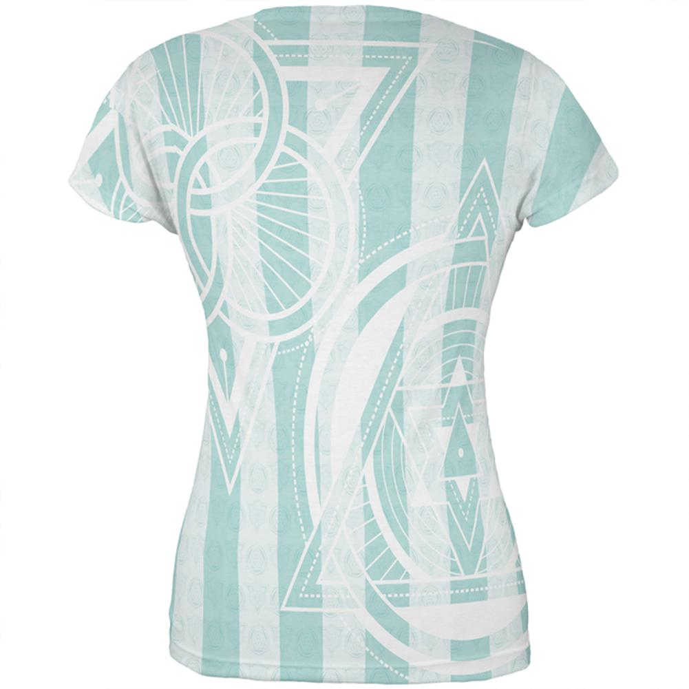 Old Glory Summer Sacred Geometry Teal Stripes All Over Mens Tank Top