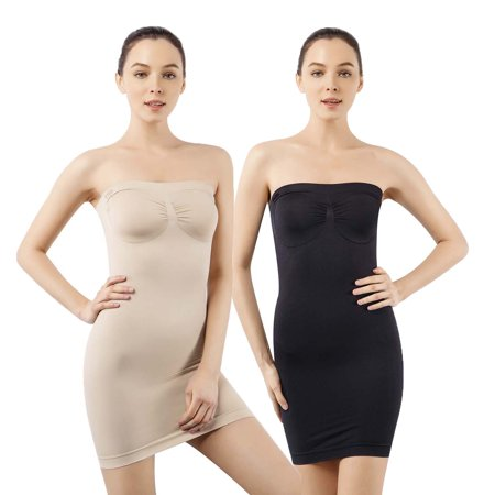 MD Women's Strapless Full Body Slip Shaper Seamless Smoother Tube Slip Under DressesBlack/Nude S