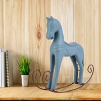 LYUMO Handmade Wooden Rocking Horse Carved Painted Kids Toy Gift Table Decoration,Rocking Horse, Wooden Rocking Horse