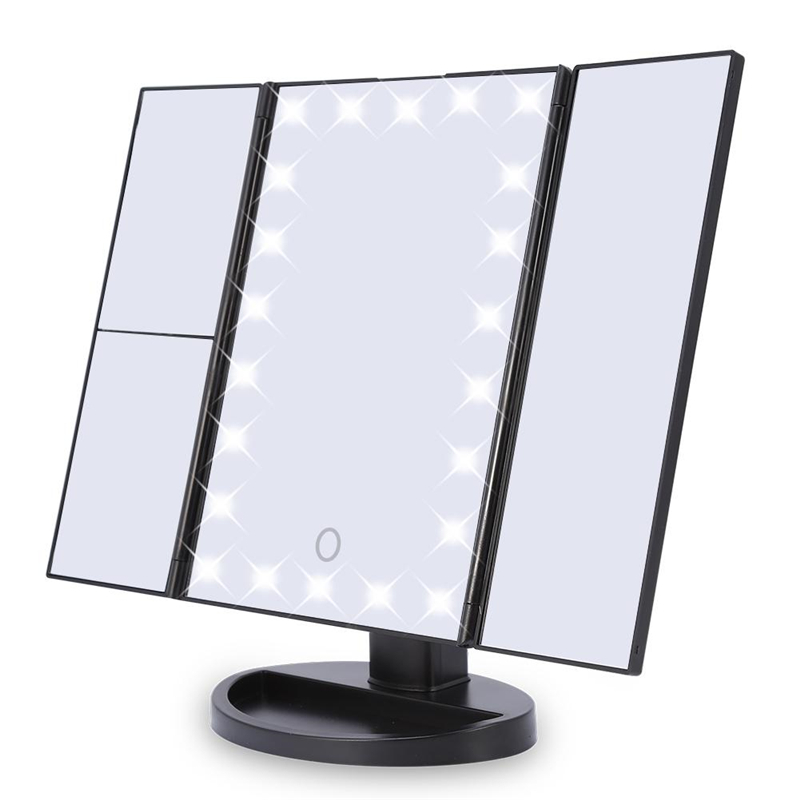 Led Touch Switch Cosmetic Mirror, Portable 180� Rotatable Mirror, 3 Panel 2X 3X 1X... by Eb Network Technology
