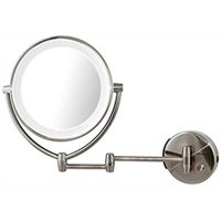 Ovente Wall Mount LED Lighted Cosmetic Mirror, 9.5 Inch, Battery or USB Adapter Operated, Dimmable, 1x/10x Magnification, Nickel Brushed (MLW45BR1X10x)