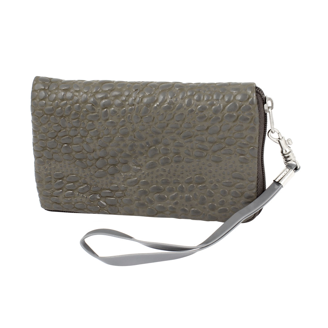 Unique Bargains Gray Faux Leather Alligator Pattern Purse Bag Holder for Mobile Phone Mp4