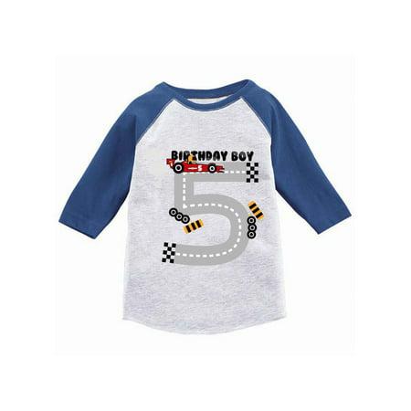 Awkward Styles Birthday Boy Race Car Toddler Raglan Race Car Birthday Party for Boys Birthday Gifts for 5 Year Old 5th Birthday Jersey Shirt Fifth Birthday Raglan Shirt Race Car Shirt for Birthday Boy - Gifts For Five Year Old Boy