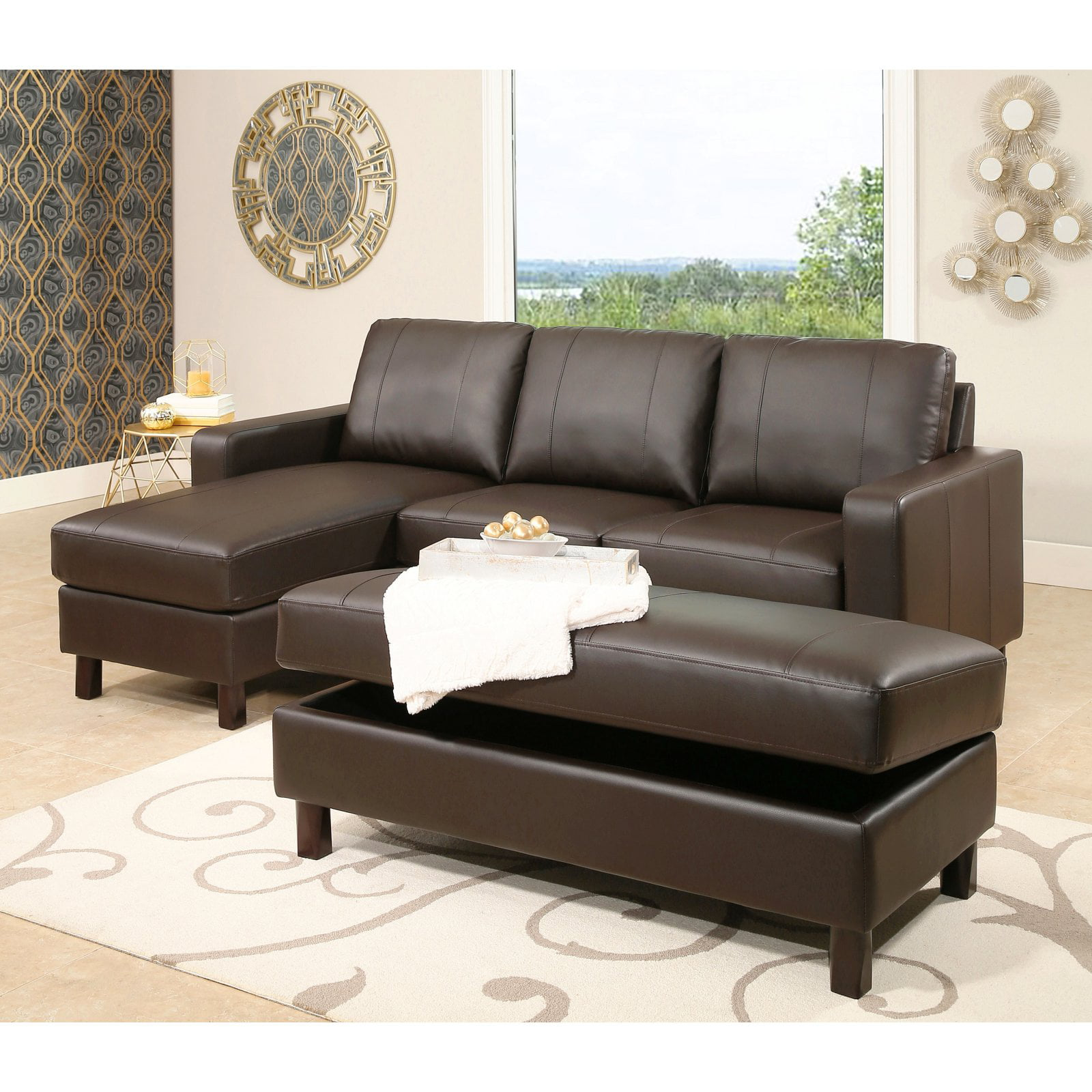Abbyson Cedar Leather Reversible Sectional Sofa With Storage Ottoman