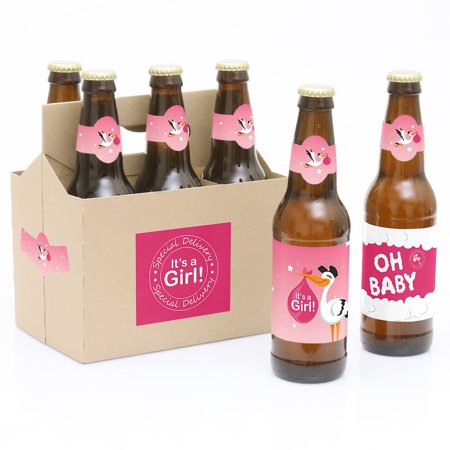Girl Special Delivery - Pink It's A Girl Stork Baby Shower Party Decorations for Women and Men - 6 Beer Bottle Label Want to wish someone Congratulations! Our Special Delivery Girl - 6 Pink It's A Girl Stork Baby Shower Beer Bottle Label Stickers and 1 Carrier are the perfect gift for the adult or bring to a party. This set comes with a craft paper carrier and with 6 beer bottle labels that are printed on sticker paper that is waterproof. Apply labels to room temperature bottles. Apply beer bottle labels either after removing original label for best results or put over existing labels if you choose. Chill after you are done applying labels. For the two larger labels that are left over apply to the front and back of paper carrier. Use the two smaller ones to put on each end of the paper carrier to give you the completed look. (Beer in image is obviously NOT included).Kit includes 6 labels to decorate bottles and includes 4 labels for decorating the kraft paper carrier. Labels are printed on sticker paper that is waterproof.The main sticker label is 3.5  x 3  and the collar/neck sticker label is 3.5  long x 1.5  wide at the center. Apply labels to room temperature bottles. Apply beer bottle labels either after removing original label for best results or put over existing labels if you choose. Chill after you are done applying labels. (Beer in image is NOT included).