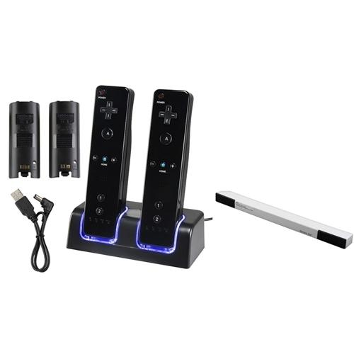 Insten BLACK 2-PORT CHARGER STATION STAND + 2-PACK BATTERY + WIRELESS SENSOR BAR FOR NINTENDO WII / WII U REMOTE CONTROL