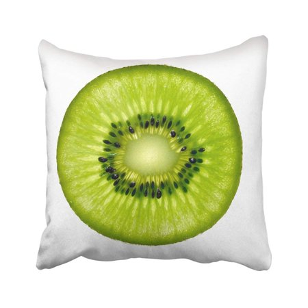 - WOPOP Green Half Slice Of Fresh Kiwi Fruit White Circle Section Macro Cross Whole Juice Close Pillowcase Cover 16x16 inch