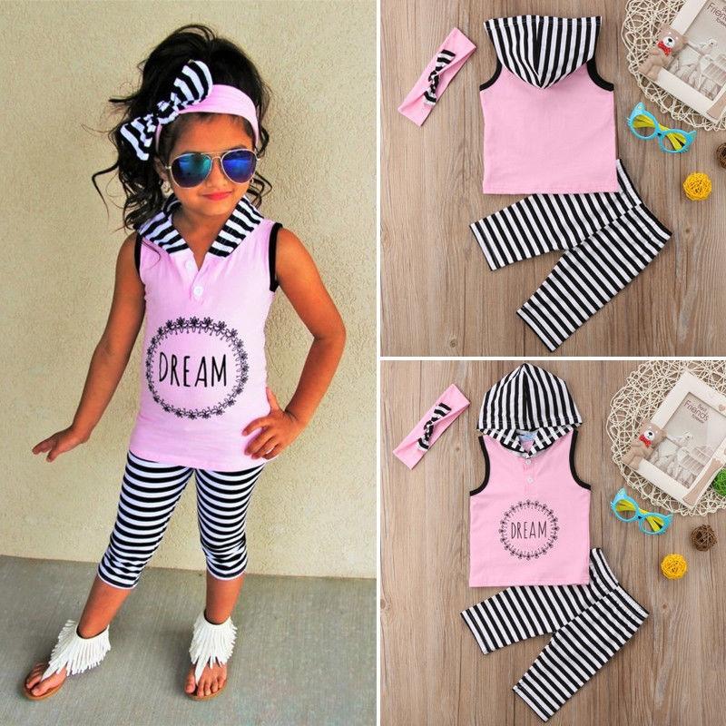 Toddler Kids Girls Summer Outfits Clothes Sleeveless Hoodies Tops+Pants Headband 3PCS Set 1-6Y