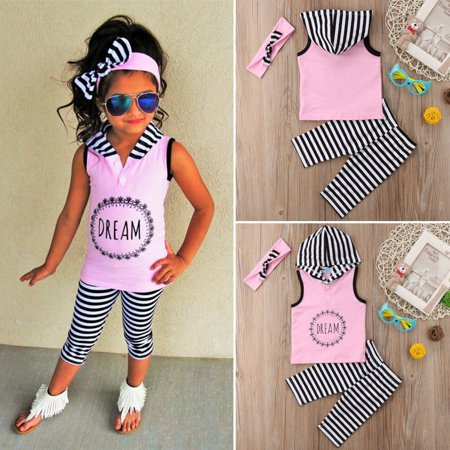 Toddler Kids Girls Summer Outfits Clothes Sleeveless Hoodies Tops+Pants Headband 3PCS Set - Girls On Sale