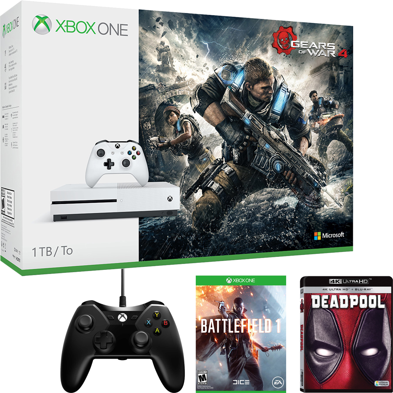 Xbox One S with Your Choice of Bonus Game, 4k UltraHD Movie, and Controller