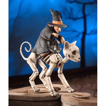 Bethany Lowe Halloween TD6022 Witch Riding Skelly Cat 2017