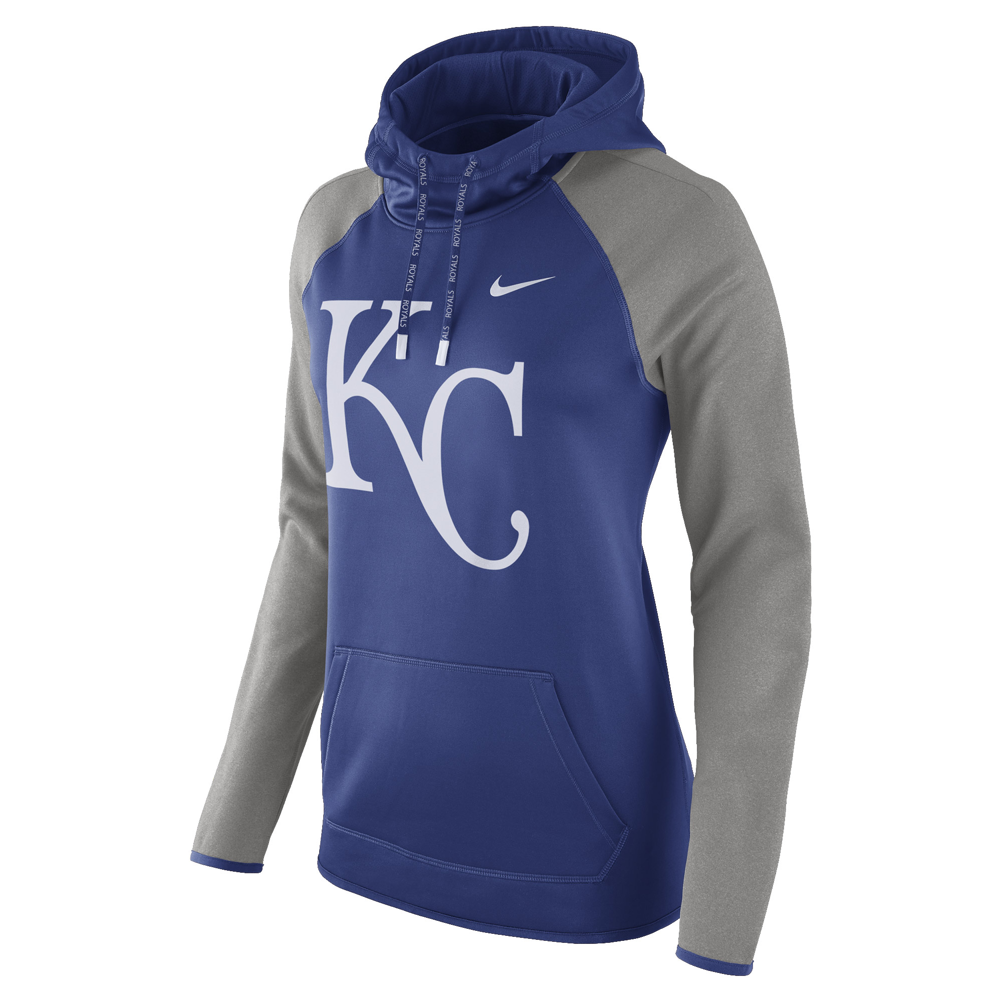 64d6a637deb Kansas City Royals Nike Women s Performance Pullover Hoodie -  Royal Heathered Gray - XXL