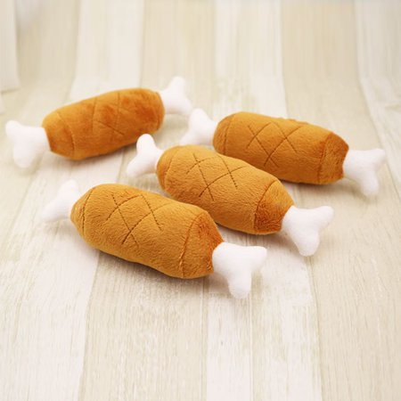 1Pcs Lovely Pet Dog Squeaker Toys Puppy Chew Squeaky Sound Plush Chicken Drumstick Design Toy For Small Dogs Pets