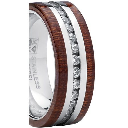 Stainless Steel Eternity Cubic Zirconia And Wood Inlay Wedding Ring Band