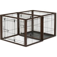 Richell Flip To Play Pet Crate Medium Brown 32L x 23.4W x 24.5H in.