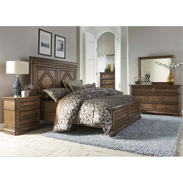 Liberty Furniture Amelia 5 Piece Queen Panel Bedroom Set In Toffee Walmart Com Walmart Com