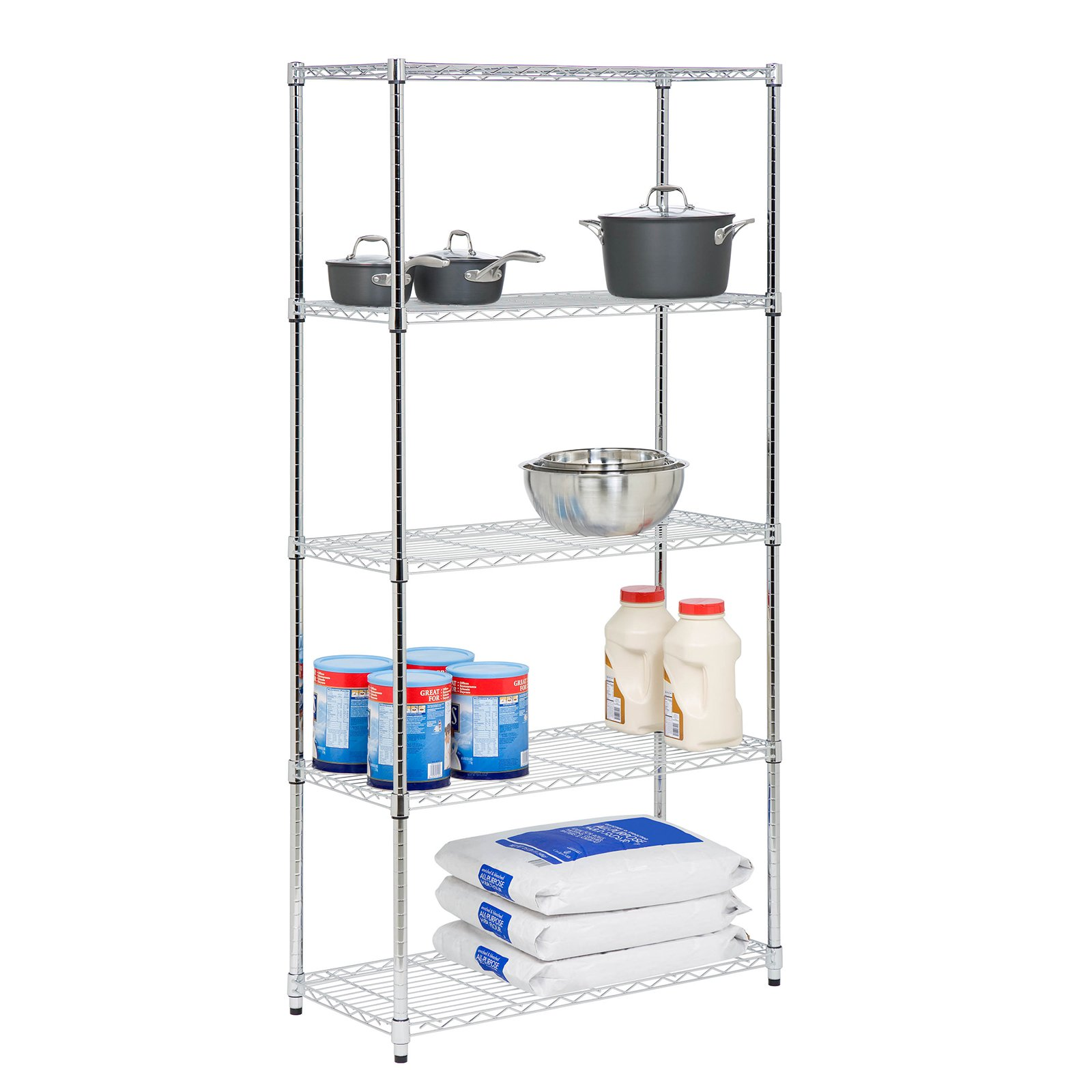 "Honey Can Do 5-Tier Storage Shelves 18x36x72"", 350 Lbs, Chrome"