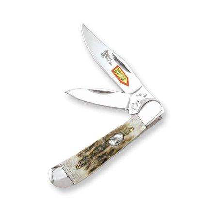 Steel Warrior Copperhead Deer Stag Handle Knife