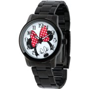 Minnie Mouse Men's Casual Alloy Case Watch, Black Bracelet
