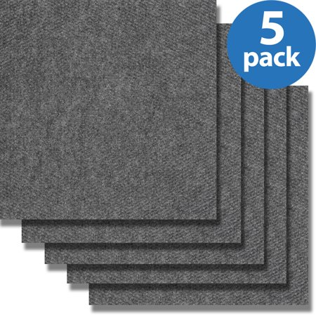 Mohawk (5 Pack-80 Tiles) Home Carpet Tiles, Set of 16, Smoke Gray ()