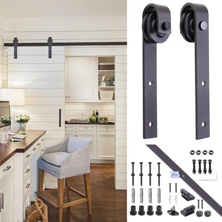 6' Steel Sliding Door Hardware Set Barn Closet Single Track System Kit