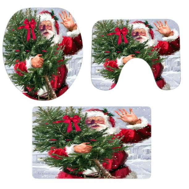 Follure Christmas Decorations Clearance 3pcs Christmas Bathroom Non Slip Pedestal Rug Lid Toilet Cover Bath Mat Set Walmart Com Walmart Com