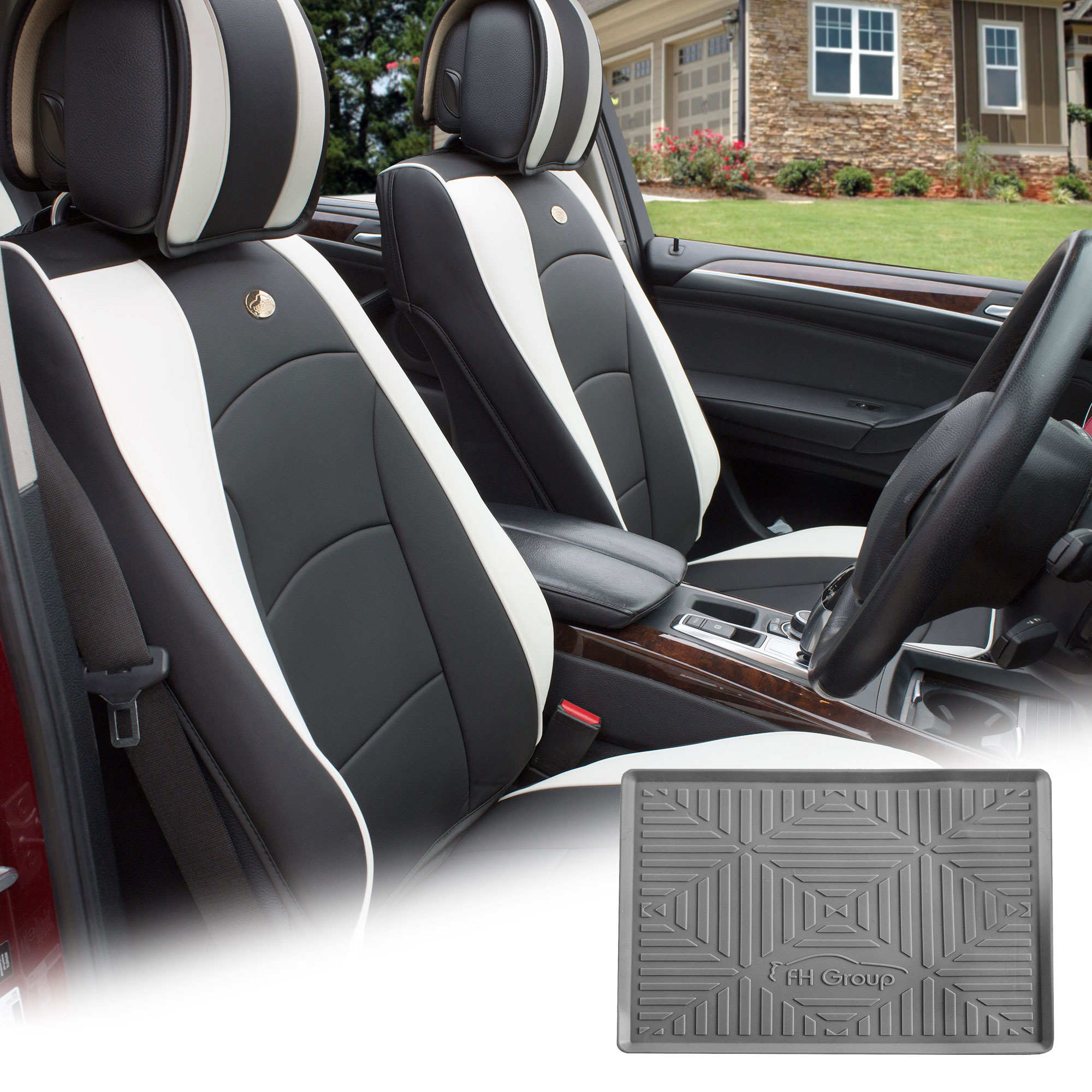 Fh Group Black White Leatherette Front Bucket Seat Cushion Covers