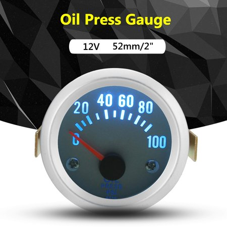 Oil Pressure Gauge Meter w/ Sensor 12V 2 inch 52mm Electrical Digital Pointer 100 PSI Press Car Vehicle Auto SUV Truck Van Boat 4 6 8 Cylinder MATCC US
