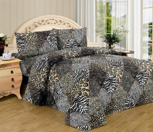 Details about  /Black and White Quilted Bedspread /& Pillow Shams Set Wild Leopards Print