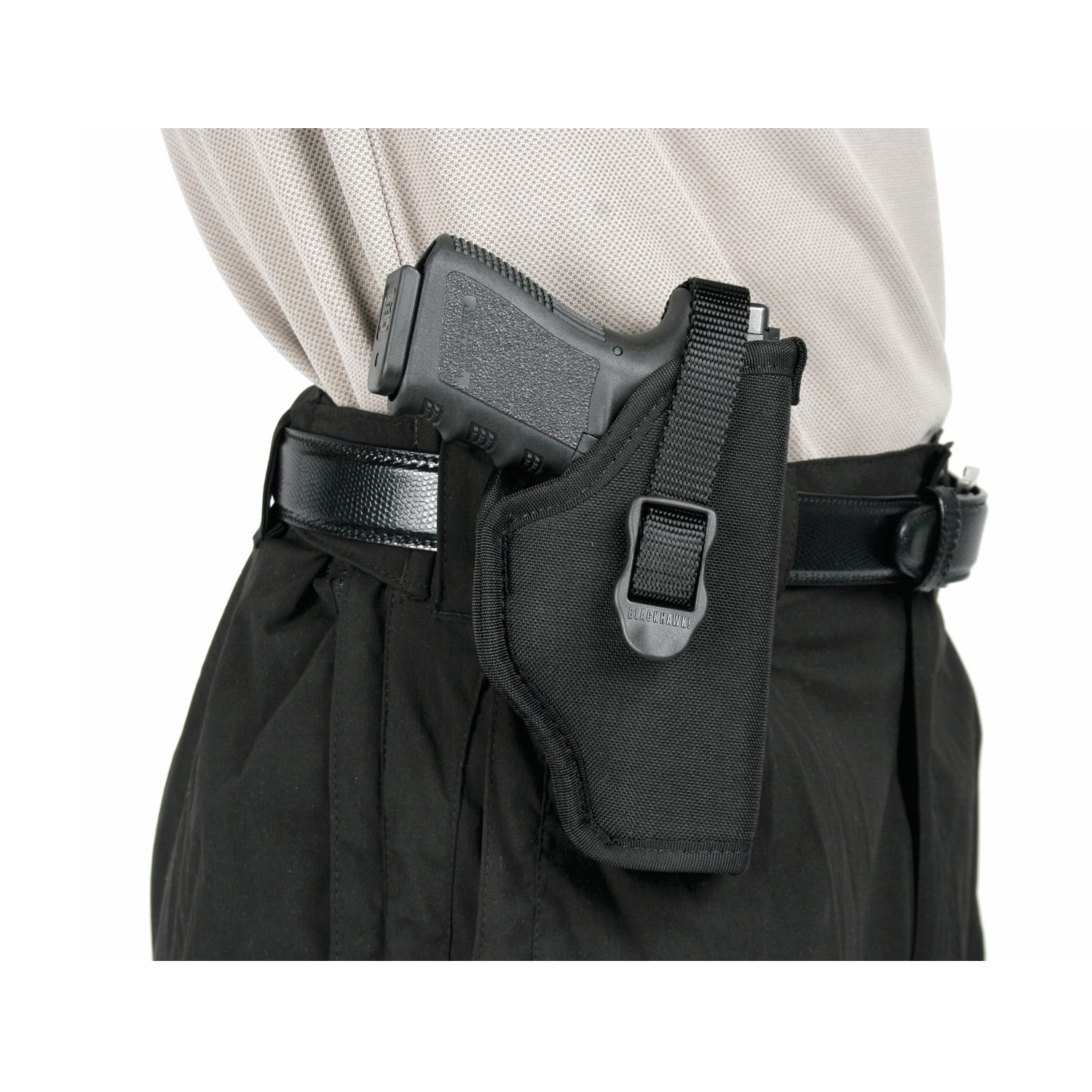 "BLACKHAWK HIP HOLSTER 4 4.5-5"" BARREL LARGE AUTO, OPEN END 1000 DENIER CORDURA NYLON BLACK"