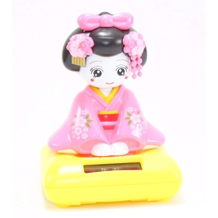 Pink Sitting Geisha Girl Yellow Base Solar Powered Japanese Kimono Car Bobble Head Doll Toy Home Decor Figurine Birthday Blessing Gift US SellerMaterial :.., By We pay your sales tax