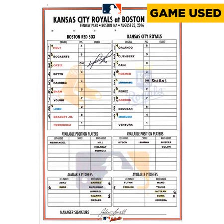 Signed Autograph Card (David Ortiz Boston Red Sox Autographed Game-Used Lineup Card from Homerun Game vs. Kansas City Royals on August 28, 2016)